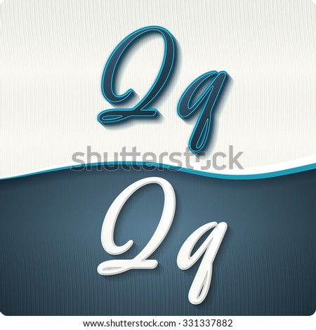 """The stylish white and blue italic letters of the alphabet, three-dimensonail, with shadows. The capital letters """"Q"""" and lowercase """"q."""" Set, vector EPS10. - stock vector"""