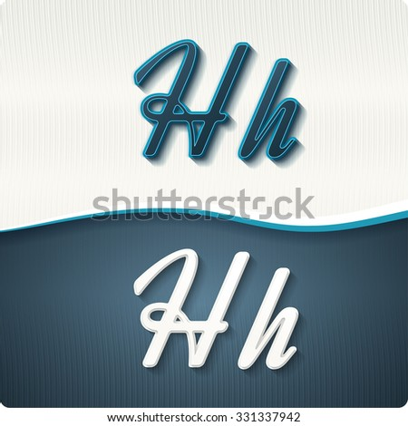 """The stylish white and blue italic letters of the alphabet, three-dimensonail, with shadows. The capital letters """"H"""" and lowercase """"h."""" Set, vector EPS10. - stock vector"""