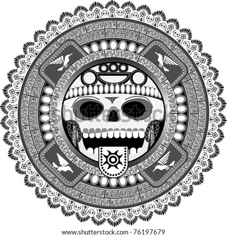 The stylized deity of aztecs with a skull in a vector - stock vector