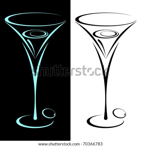 The stylized glass from martini in two variants. On black and on a white background. - stock vector