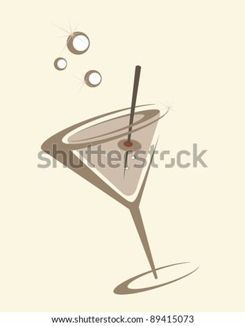 The stylized glass with a drink and an olive - stock vector