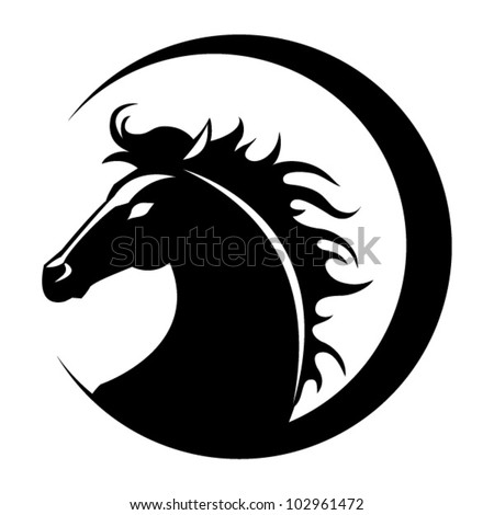 The stylized head of a horse - stock vector