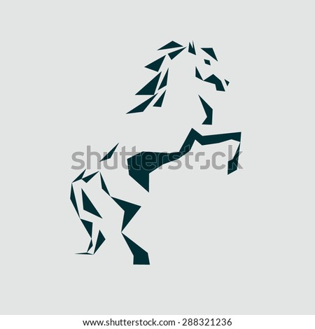 the stylized icon of a horse standing on its hind legs - stock vector
