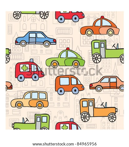 The stylized image of transport in the style of cartoon - stock vector