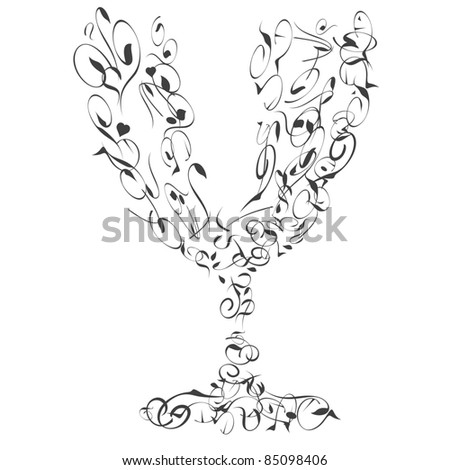 The stylized wine glass abstract from many curves. vector - stock vector