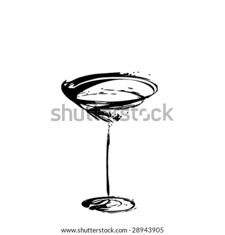 The stylized wine glass for martini (vector)