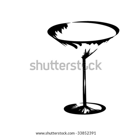 The stylized wine glass for martini (vector) - stock vector