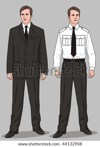 The suit man's consists of a jacket, trousers, a trousers and a necktie - stock vector