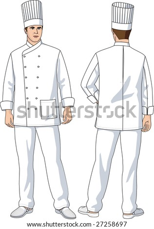 The suit of the cook consists of a jacket, trousers and a cap.