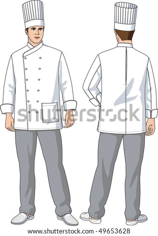The suit of the cook consists of a jacket, trousers and a cap - stock vector