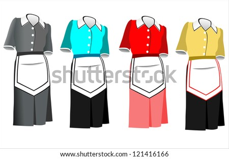 The suit of the housemaid consists of a dress and an apron. - stock vector