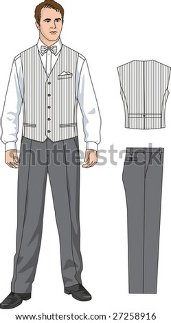 The suit of the waiter consists of a waistcoat, a shirt and trousers. - stock vector