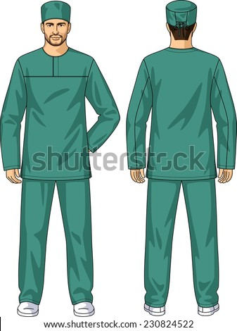 The suit summer for the medical worker consists of a jacket and trousers - stock vector