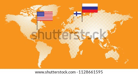 Summit usa meeting russia finland illustration stock vector usa meeting russia in finland illustration design of world map with russia gumiabroncs Choice Image