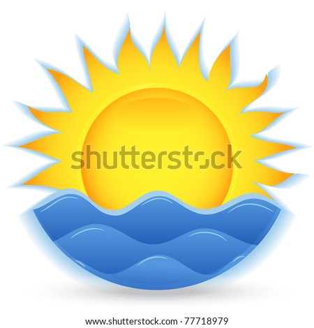 The sun and the sea. An icon for the project. Vector illustration - stock vector