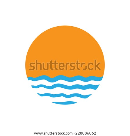 The sun and the sea. Vector logo illustration - stock vector