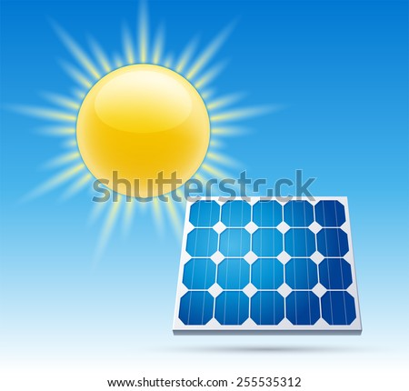 The sun and the solar battery. The design concept of solar energy. Vector illustration - stock vector