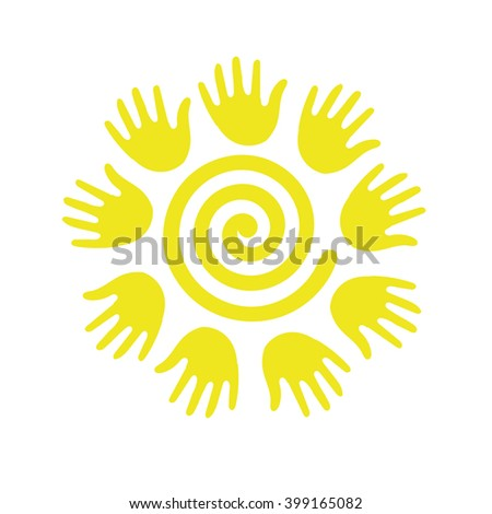 the sun in the form of a spiral - stock vector