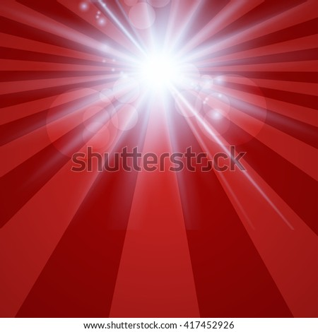 The sun radiation retro  red background vintage - stock vector