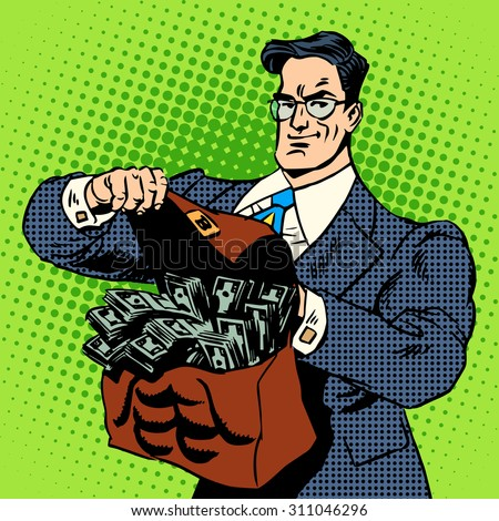 The super businessman to do with a suitcase of money. Business concept Finance income cash. Retro style pop art - stock vector