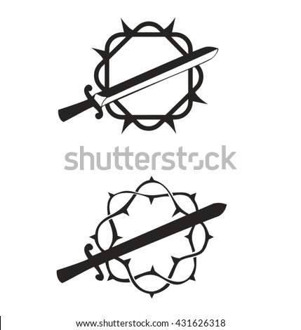 The Sword In Crown Of Thorns Vector Silhouette Isolated On White