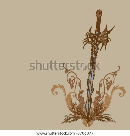 the sword of the dragons - stock vector