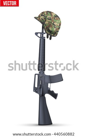 The symbol of a fallen US soldier. Vector Illustration Isolated on white background. - stock vector