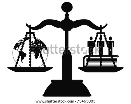 the symbol of justice on the scale - stock vector