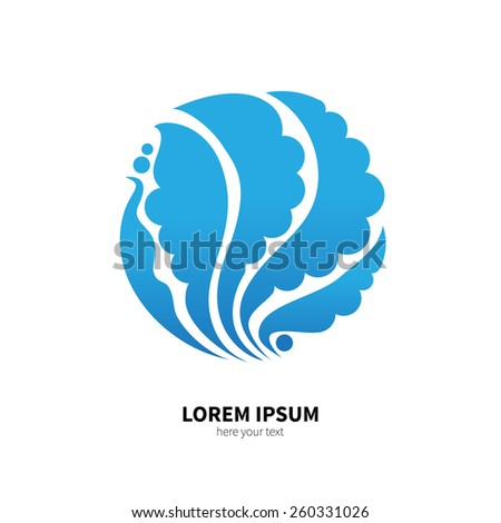 The symbol of water, air. Beautiful decorative design element. Unusual water pattern. Vector illustration. Object isolated on white background. - stock vector