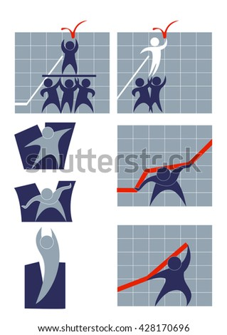 The symbolic flat image of people, charts, and the struggle for business success - stock vector