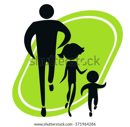 The symbolic image of the head of the family and his children for a morning jog - stock vector