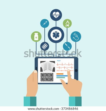 The tablet in hands of doctor. Innovative technologies in medicine. The modern doctor. Tablet computer with virtual interface, icons medical. Vector illustration, flat design. - stock vector