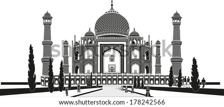 The Taj Mahal is a white marble mausoleum located in Agra, Uttar Pradesh, India. It was built by Mughal emperor Shah Jahan in memory of his third wife, Mumtaz Mahal. - stock vector