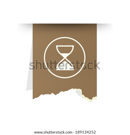 the tattered piece of paper with clock icon / the time icon / the button with hour glass - stock vector