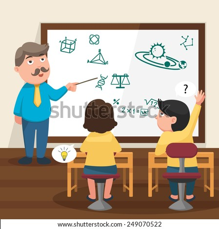 The teacher teaching his students in the classroom illustration, vector - stock vector
