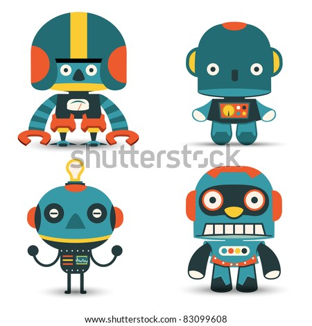 The team of classic robots - stock vector