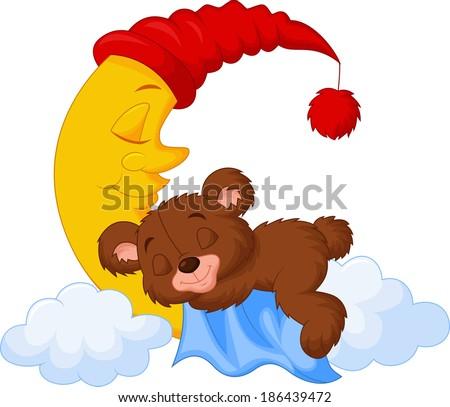 The teddy bear sleep on the moon - stock vector