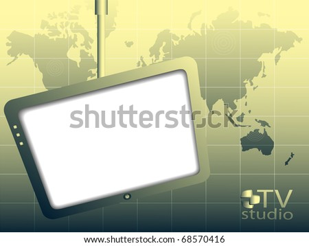 The television screen  and map world on a green background - stock vector