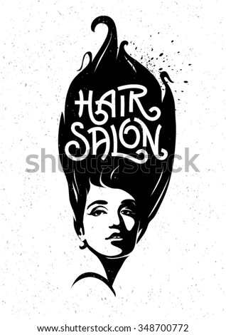 The template of poster to hair salon for ladies. Hand drawn lettering - stock vector