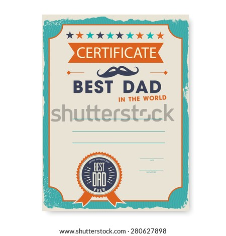 Template certificate diploma congratulations fathers day stock the template of the certificate diploma congratulations for fathers day in vintage retro style yadclub Image collections