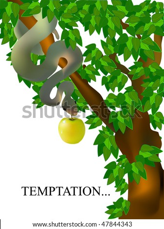 the tempting serpent with apple - stock vector