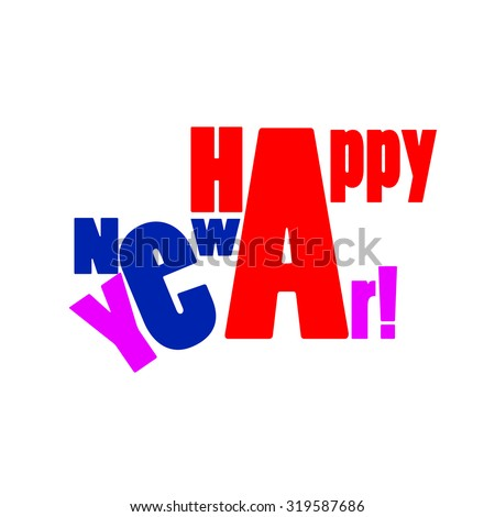 The text of the new year. Vector - stock vector