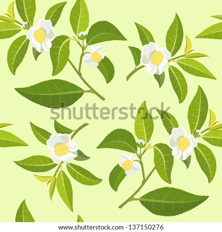 The texture of the tea bush flowering branches - stock vector