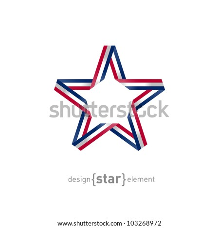 The 4th July Independence day star from ribbon - stock vector