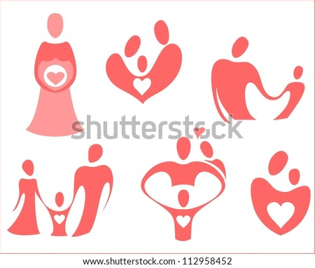 The theme of icons is love, family, pregnancy, care - stock vector