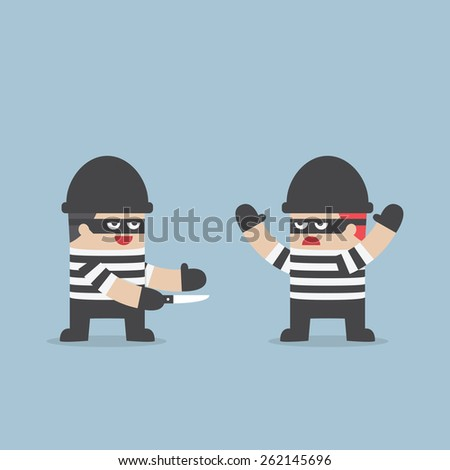 The thief betray his friend, VECTOR, EPS10 - stock vector