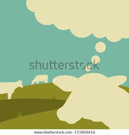 the thinking cow - vector illustration - stock vector