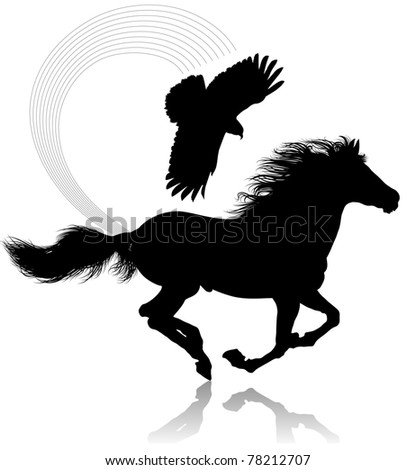 The thoroughbred horse that gallops. The kite flies over a horse. - stock vector