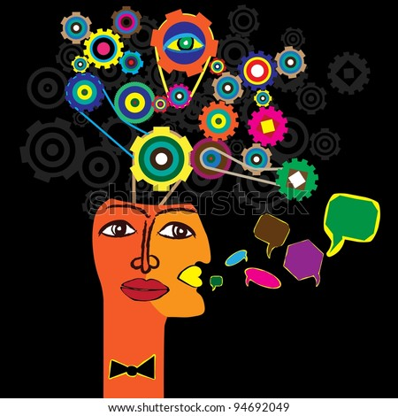 The thought process - stock vector