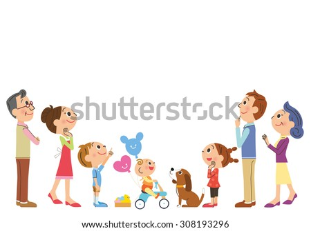 The three-generation family who looks up at the top - stock vector